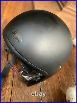 Mens Large Shoei Motorcycle Helmet Open Face Matt Black