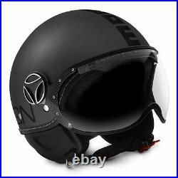 Momo Fighter Evo Matt Titanium Frost Black Open Face Motorcycle Crash Helmet