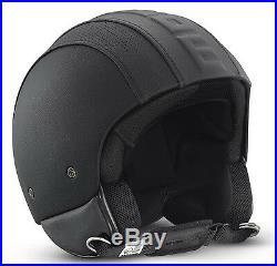 Momo Hero Open Face Leather Black Matt Motorcyclescooter Helmet Size Xs S M ML L