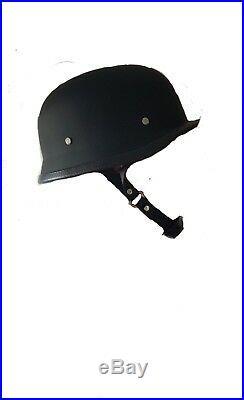 Motorcycle Motorbike Open Face Scooter Classic German Helmet Matt Black B NT
