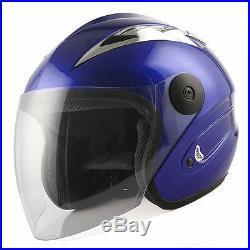 Motorcycle Scooter Sport Street Bike Open Face Helmet 3/4 Glossy Blue S M L XL