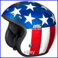 Motorradhelm Troy Lee Designs Open Face Peter Fonda Rot Blau #1389 Jet Helm