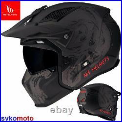 Mt Streetfighter Convertible Open Face Helmet Rider Motorbike Crash Skull Black