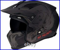 Mt Streetfighter Open Face Convertible Helmet Motorbike Rider Crash Black Skull