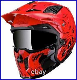 Mt Streetfighter Sv Convertible Open Face Helmet Motorbike Rider Crash Red Skull
