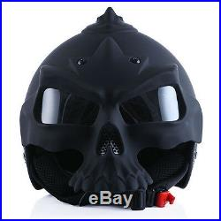 NEW 1STORM DOT Motorcycle Bike Open Face Helmet Novelty Half 3D Skull Matt Black
