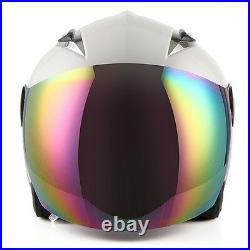 NEW Motorcycle Open Face Helmet White Racing Style Lens Color Clear / Tinted