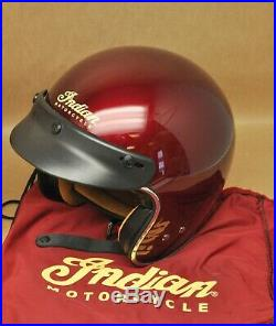 New Indian Motorcycle Open Face Retro Helmet Red Small