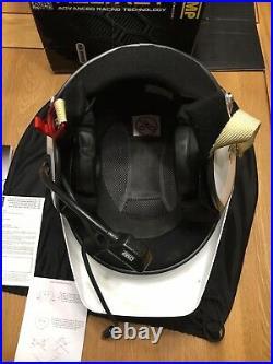 OMP Jet 10 Intercom Open Face Helmet Peltor Medium M 58 Rally White Hans Fia Msa