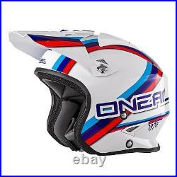 ONeal Slat Circuit Motocross Bike Fiberglass Open Face Helmet White Blue Red