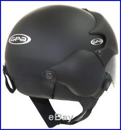 OPEN FACE MOTORCYCLE HELMET OSBE GPA AIRCRAFT TORNADO BLACK XXL 63cm+ & MASK