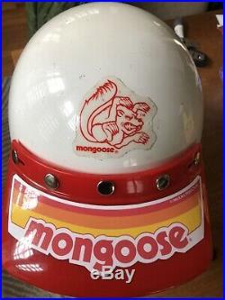 Old School Vintage Bmx Open Face Helmet And Visor-MONGOOSE Bmx