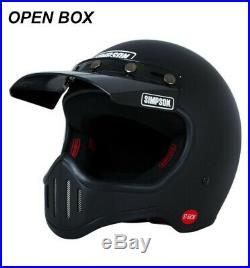 Open Box Simpson Retro M50 Matte Black Full Face Helmet 5 Snap Visor LARGE