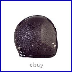 Open Face Flakes Bike Helmet Bobber Chopper 70's Helmets Vintage Black Flakes L