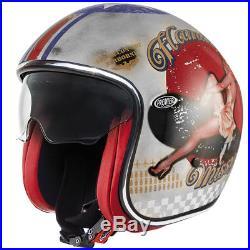 Premier Jet Vintage Open Face Motorbike Motorcycle Helmet Pin Up Silver