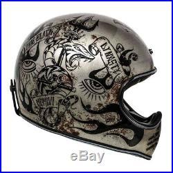 Premier MX Bd Scratched Titanium Devil Design Vintage Open Face Helmet