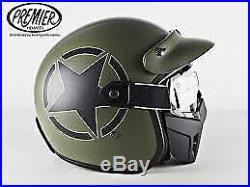 Premier Mask Star Military BM Motorcycle Open Face Visor Helmet Large (59/60)