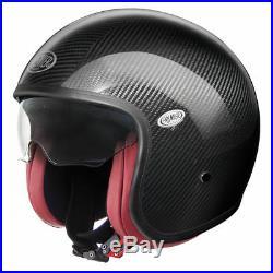 Premier Vintage Carbon Open Face Motorcycle Helmet L Black Red Motorbike Bike