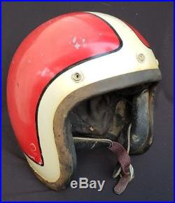 RARE VINTAGE BELL TOPTEX OPEN FACE 1968 MOTORCYCLE HELMET 7 1/8 Red withred stripe
