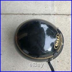 RARE VTG 80's 1989 Bell Mag Magnum Motorcycle Helmet 8 1/4 Black Gold Open Face