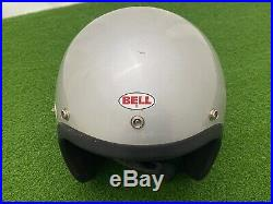 RARE Vintage 1970's BELL MAGNUM II SILVER Open Face HELMET Motorcycle TOPTEX 7