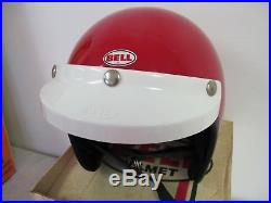 Red Vintage Bell Helmet Toptex R-t Road Trail Open Face 520 Visor In Box 7 3/8