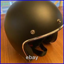 Retro Bell Helmet 3/4 Open Face Motorcycle Helmet, Size Large, Matte Black