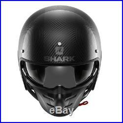 SHARK OPEN FACE Helmet S-DRAK Carbon Skin DSK Modular Goggles ATV Retro Cruiser