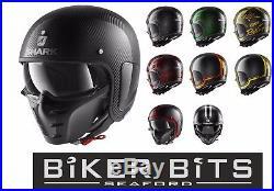 SHARK S-DRAK Carbon Fibre Open Face/Sun Visor & Mask Street Motorbike Helmet