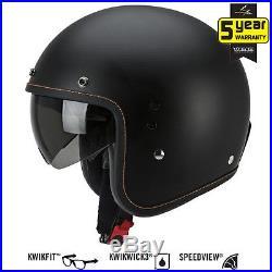 Scorpion EXO Belfast Matt Black Retro Jet Open Face Motorcycle Helmet All Size