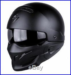 Scorpion EXO Combat Matt Black Open Face Motorcycle Helmet Sun Visor