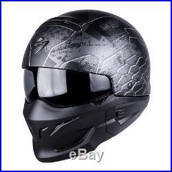 Scorpion EXO Combat Open Face Motorcycle Helmet Ratnik Silver