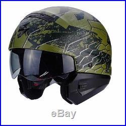 Scorpion EXO Combat Ratnik Green Open Face Motorcycle Helmet Internal Sun Visor