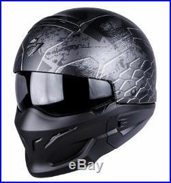 Scorpion EXO Combat Ratnik Silver Open Face Motorcycle Helmet Internal Sun Visor