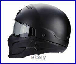 Scorpion Exo Combat/Covert Open Face/Full Face Motorcycle Helmet Matt Black DP