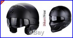 Scorpion Exo Combat Matt Black Open face Urban Modular Streetfighter Helmet