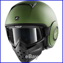 Shark Drak Blank Mat Open Face Motorcycle Helmet S Matt Green Streetfighter Jet