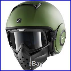 Shark Drak Blank Mat Open Face Motorcycle Helmet XL Matt Green Motorbike Jet Lid