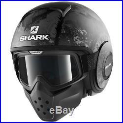 Shark Drak Evok Motorcycle Motorbike Open Face Helmet KAA Black / Silver