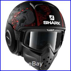 Shark Drak Sanctus Mat Open Face Motorcycle Helmet L Matt Black Red Anthracite