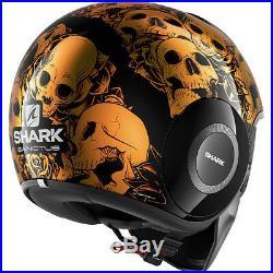 Shark Drak Sanctus Open Face Motorcycle Helmet XS Black Orange Streetfighter Lid