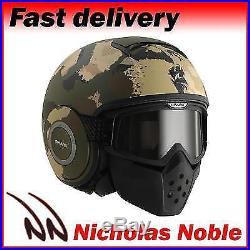 Shark Motorcycle Bike Drak Kurtz Mat Sand Camo Open Face Street Fighter Helmet