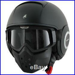 Shark NEW Drak Matte Black Street Bike Open Face Goggles Motorcycle Road Helmet