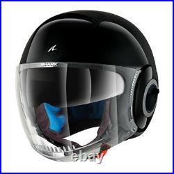 Shark Nano Black Motorcycle Motorbike Open Face Scooter Urban Helmet + Sunvisor