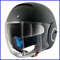 Shark Nano Mat Black Motorcycle Motorbike Open Face Scooter Helmet + Sunvisor