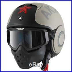 Shark Raw Motorcycle Open Face Bike Helmet Soyouz Goggles Mask MAT XSmall