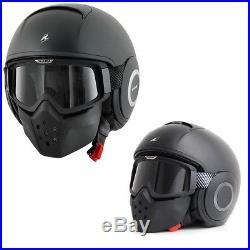 Shark Raw Urban Mod Motorcycle Open Face Helmet + Facial Mask Matt Black