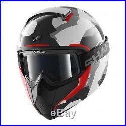 Shark Vancore Wipeout Motorcycle Motorbike Open Face Helmet Camo WAR Red