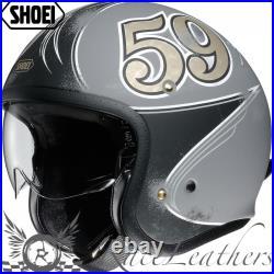 Shoei J. O. Jo Gratte Ciel Grey Open Face Motorcycle Helmet + Inner Visor