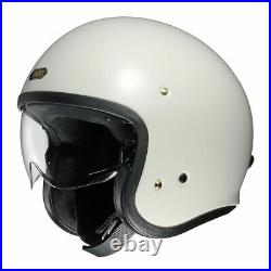 Shoei J-O Off Motorcycle Open Face Crash Helmet Visor Off White Cafe Racer